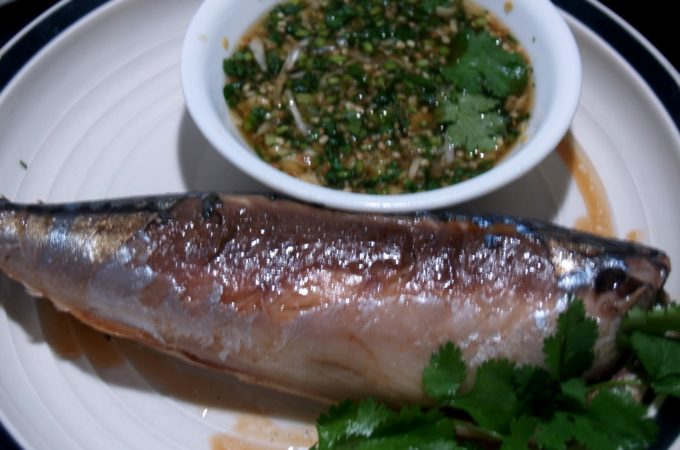Grilled Mackerel with Thai Spicy Green Dipping Sauce