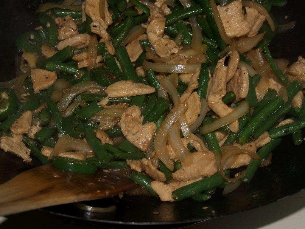 Stir Fried Green Beans in a Wok