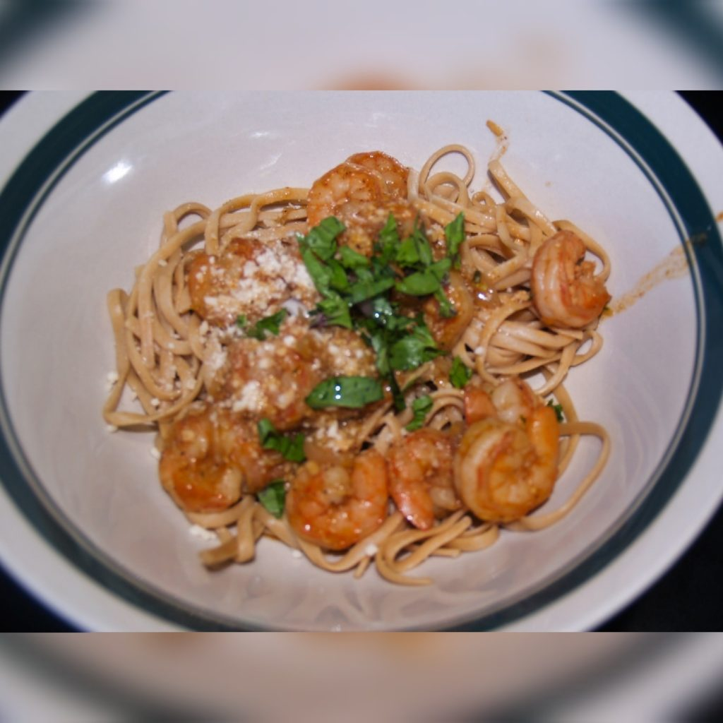 Thai Basil Scampi Served over Whole Wheat Linguine