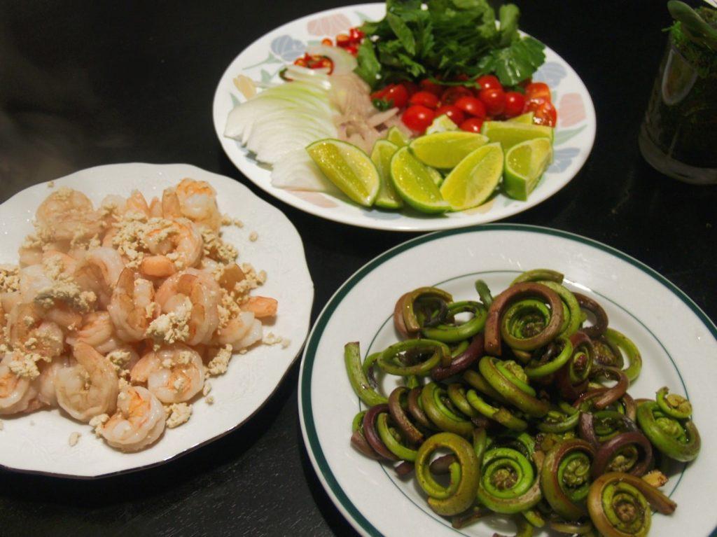 Thai Fiddle-Head Fern Salad Ingredients