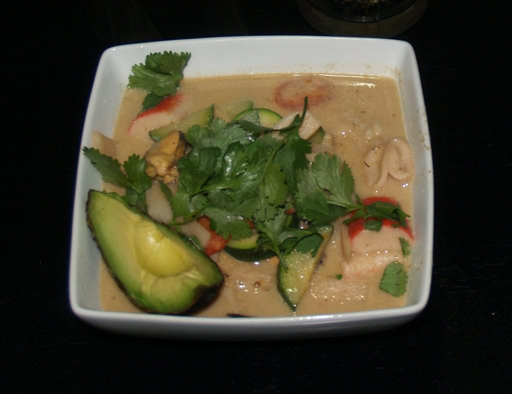 Green Curry Seafood in a Bowl