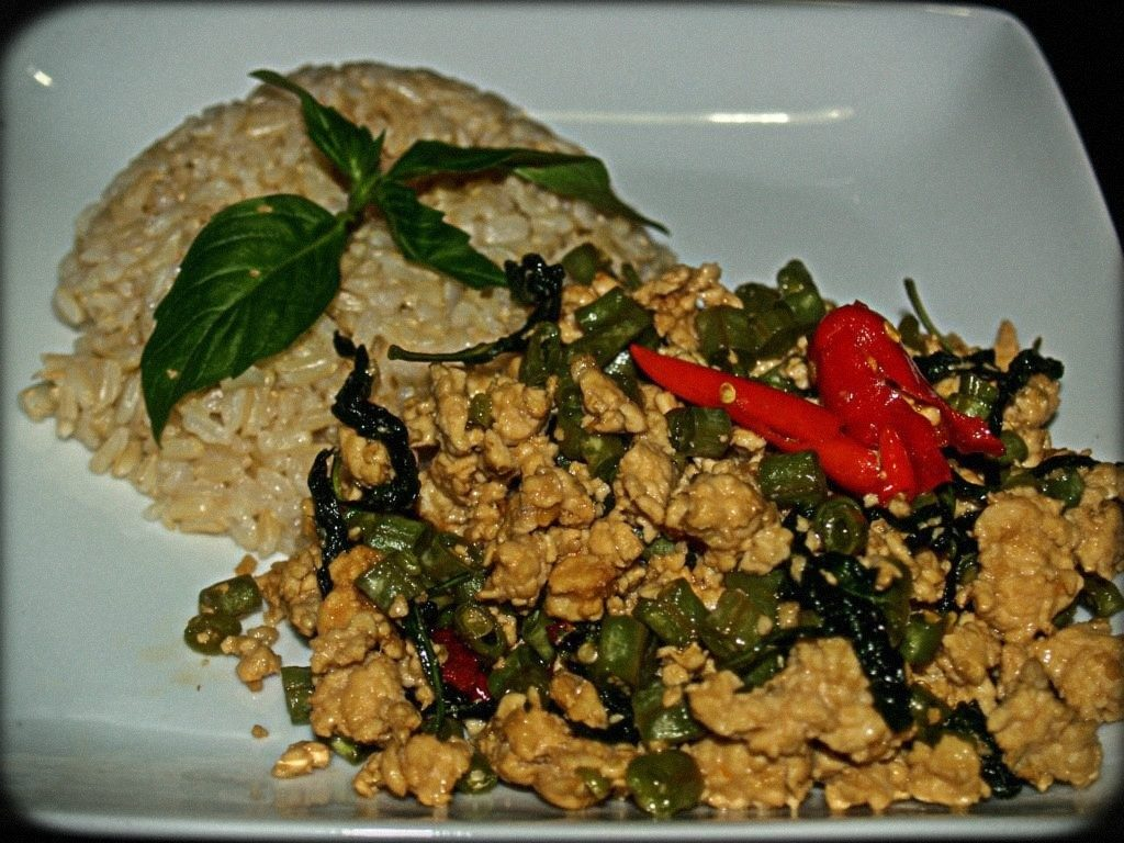 Thai Basil Chopped Chicken Served with Brown Rice