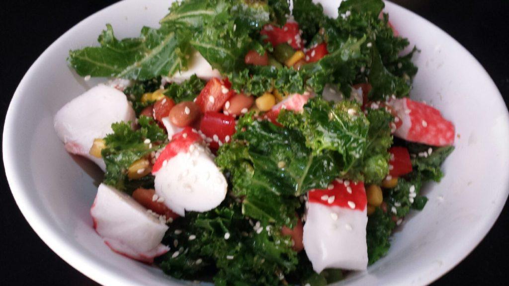Kale Salad with Imitation Crab