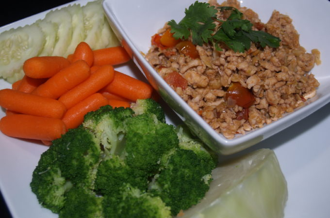Turkey Thai Herbs Served with Vegetables