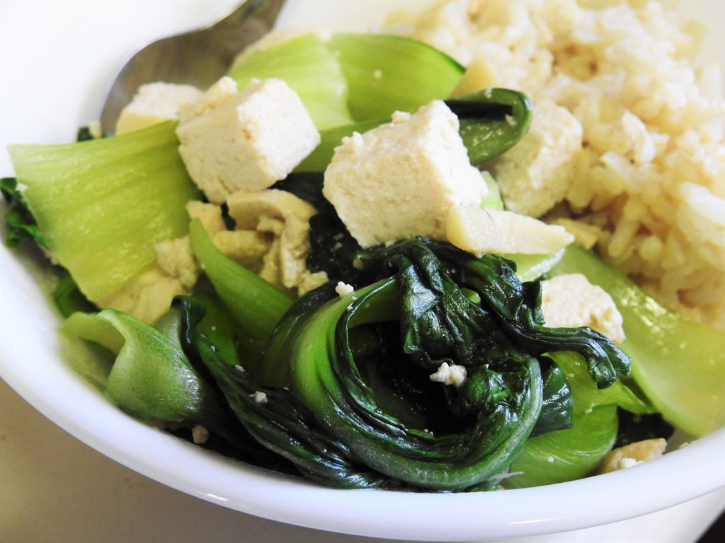 Bok Choy Tofu Served with Brown Rice