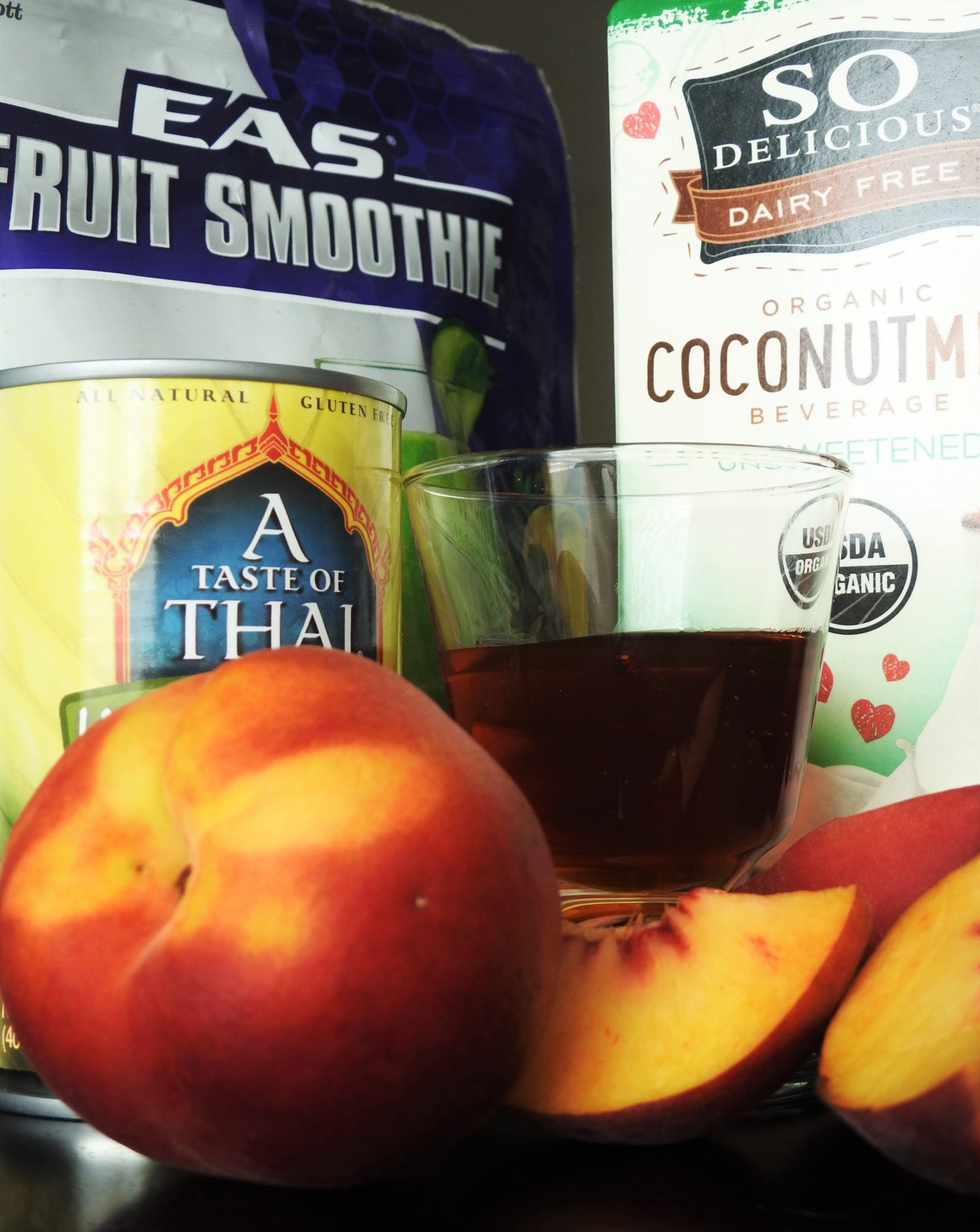 The Ingredients for Coconut Peach Protein Smoothie