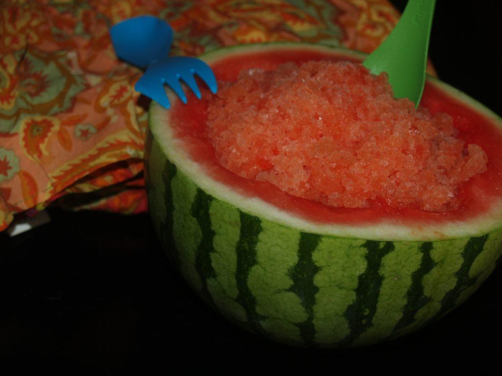 Thai Lemongrass Watermelon slush in a Watermelon Shell