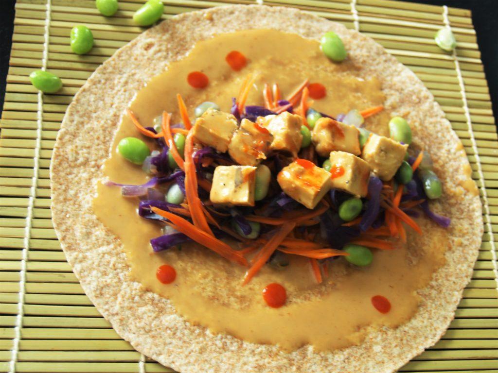 Thai Peanut Srisacha Chicken Snack Wrap