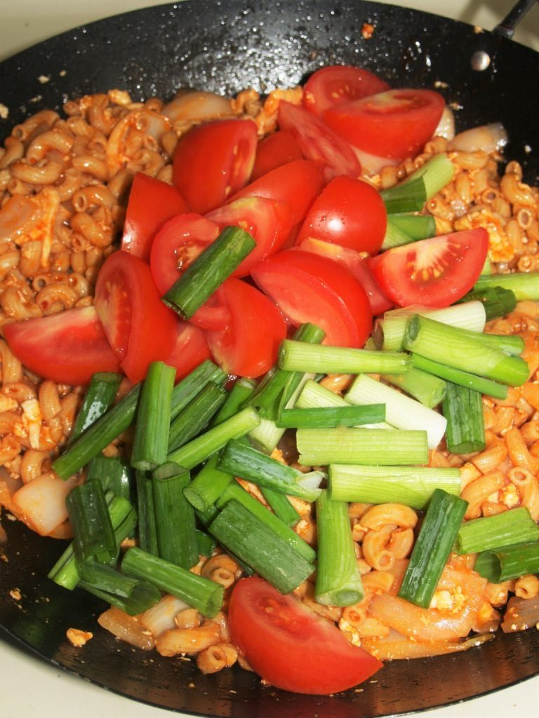 Vegetables over Macaroni