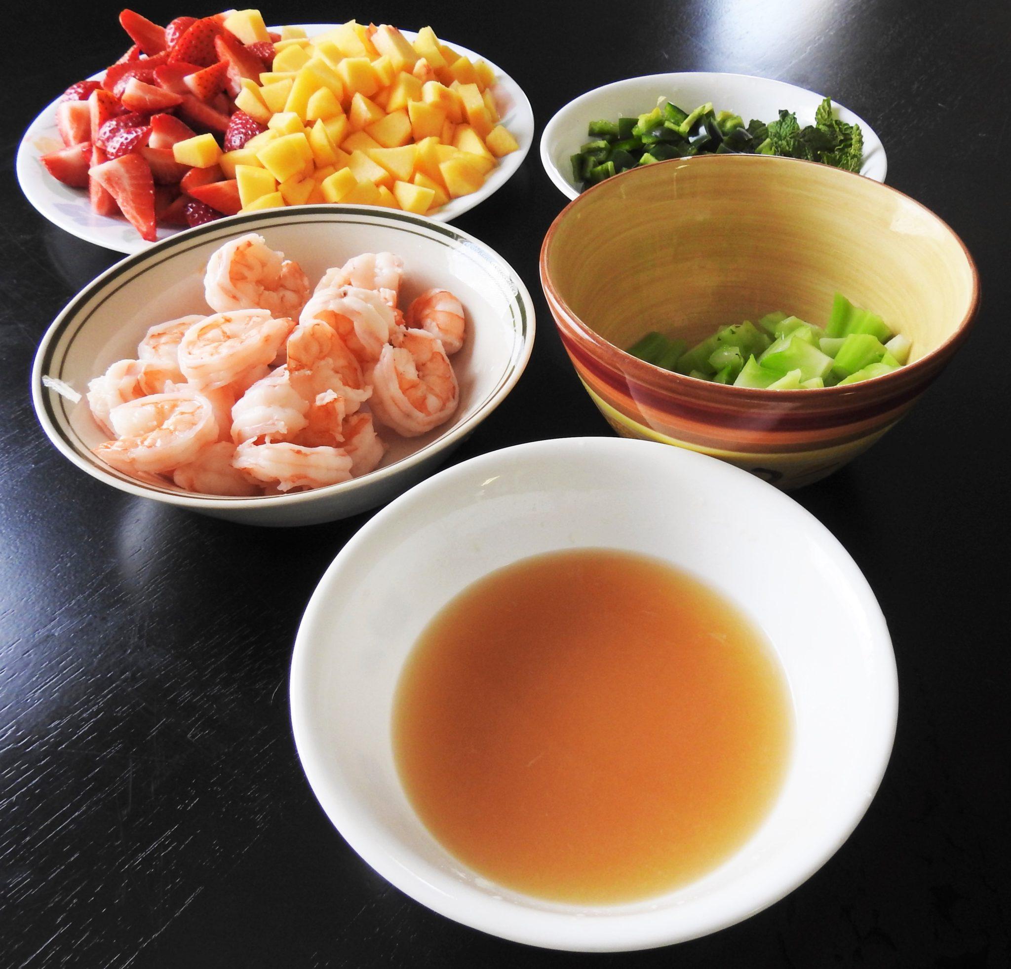 Strawberry Peach Shrimp Thai Salad Ingredients