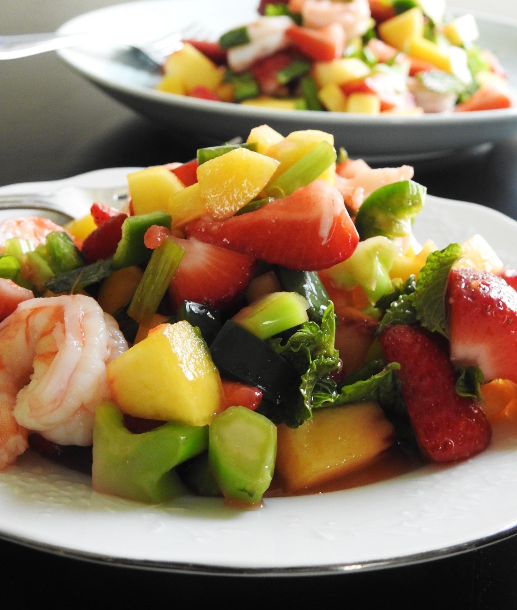 Strawberry Peach Shrimp Thai Salad