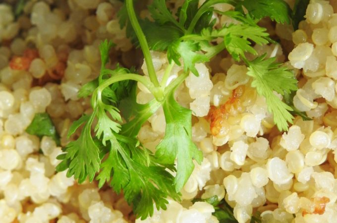 Quinoa cooked with Lemongrass and Coconut milk