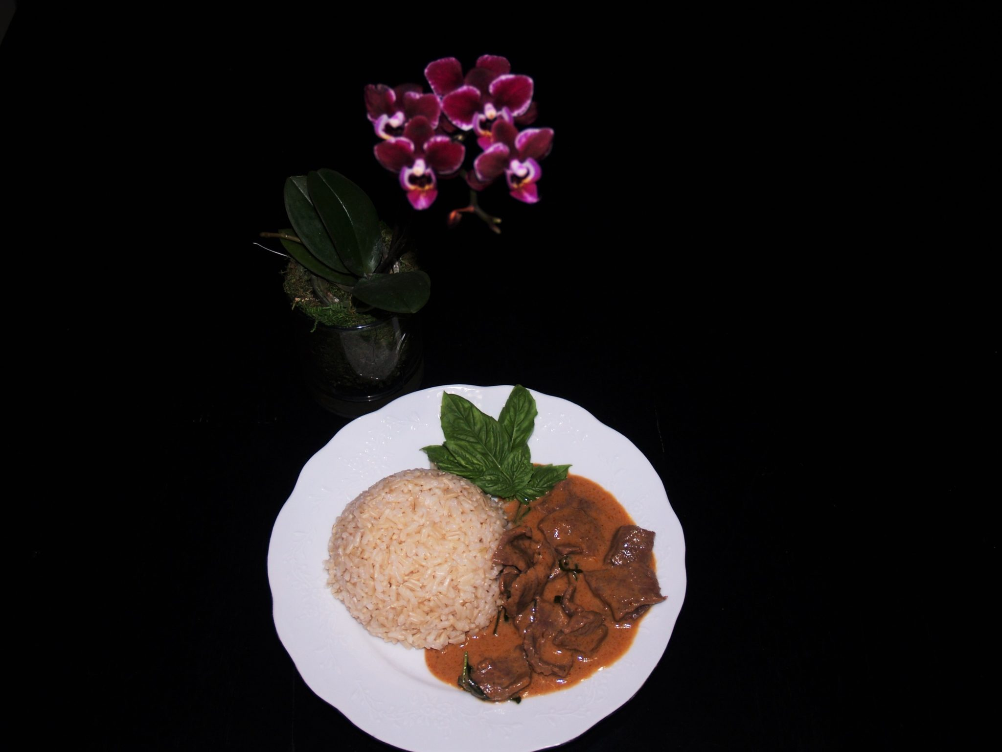 Panang Curry Beef Served with Brown Rice