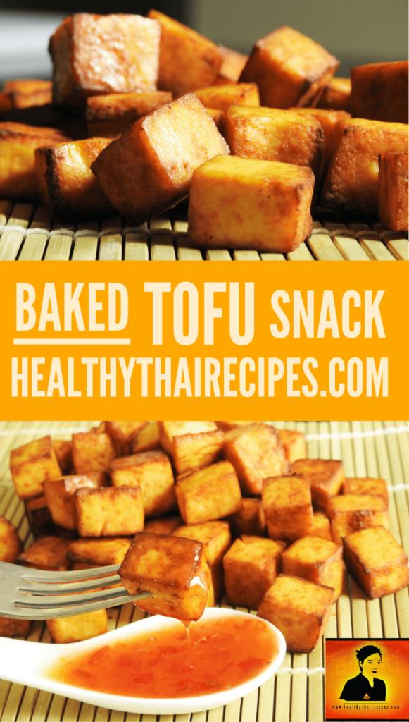 5 Ingredients Baked Tofu Snack - Healty Thai Recipes