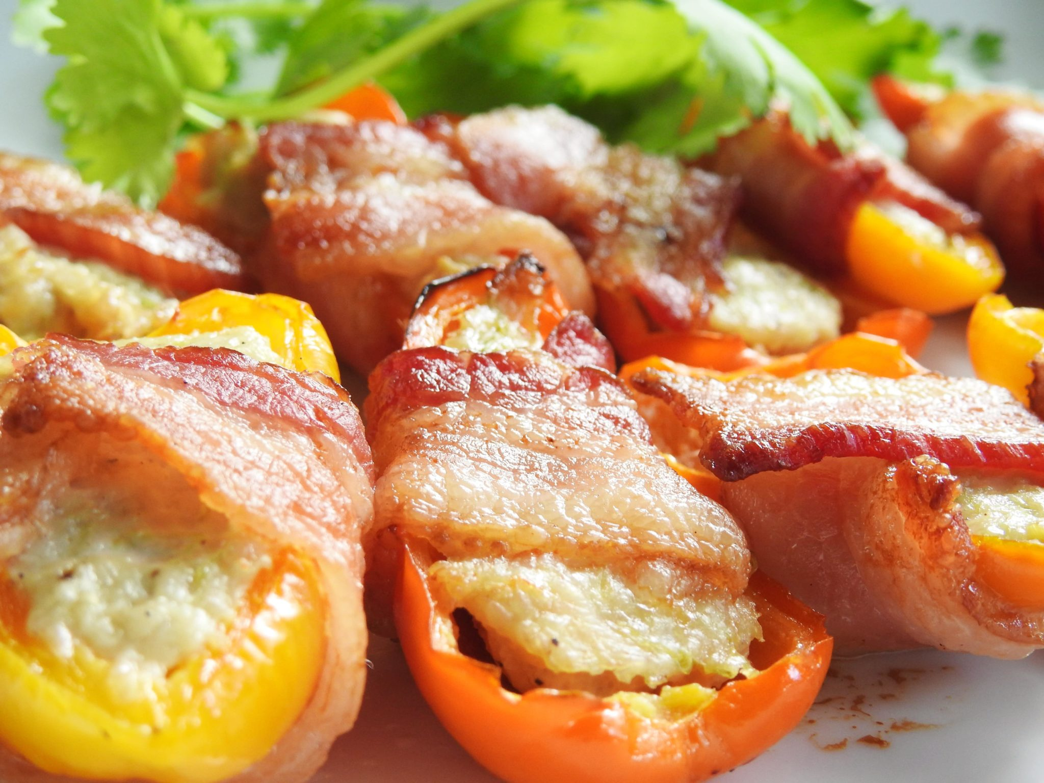 Bacon Wrapped Stuffed Mini Peppers