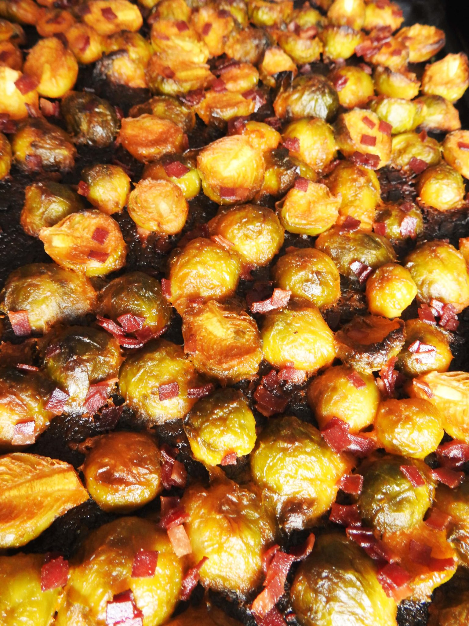 Spicy Brussel Sprouts with Turkey Bacon Bites