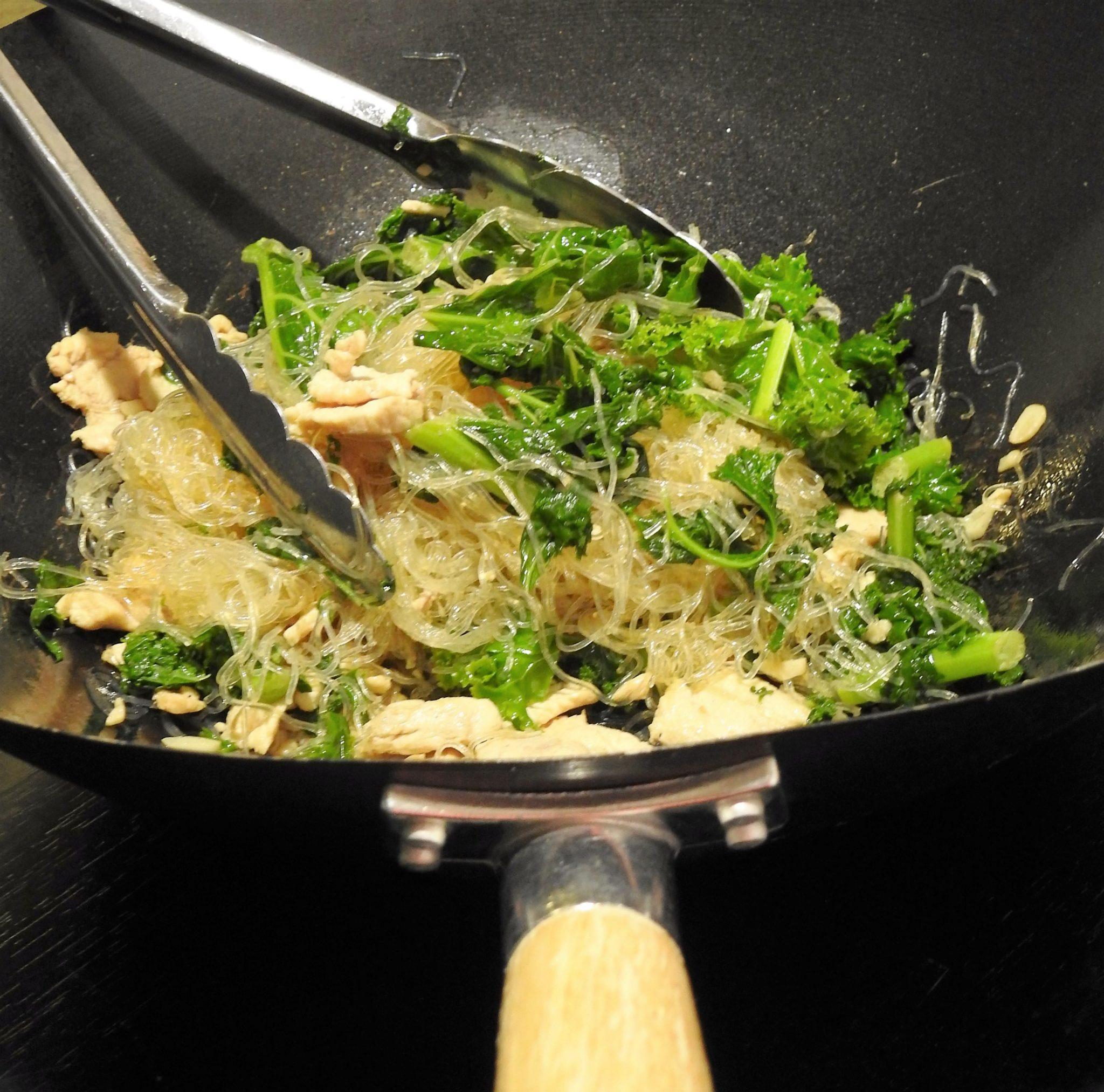 Kale Stir Fried with Glass Noodles