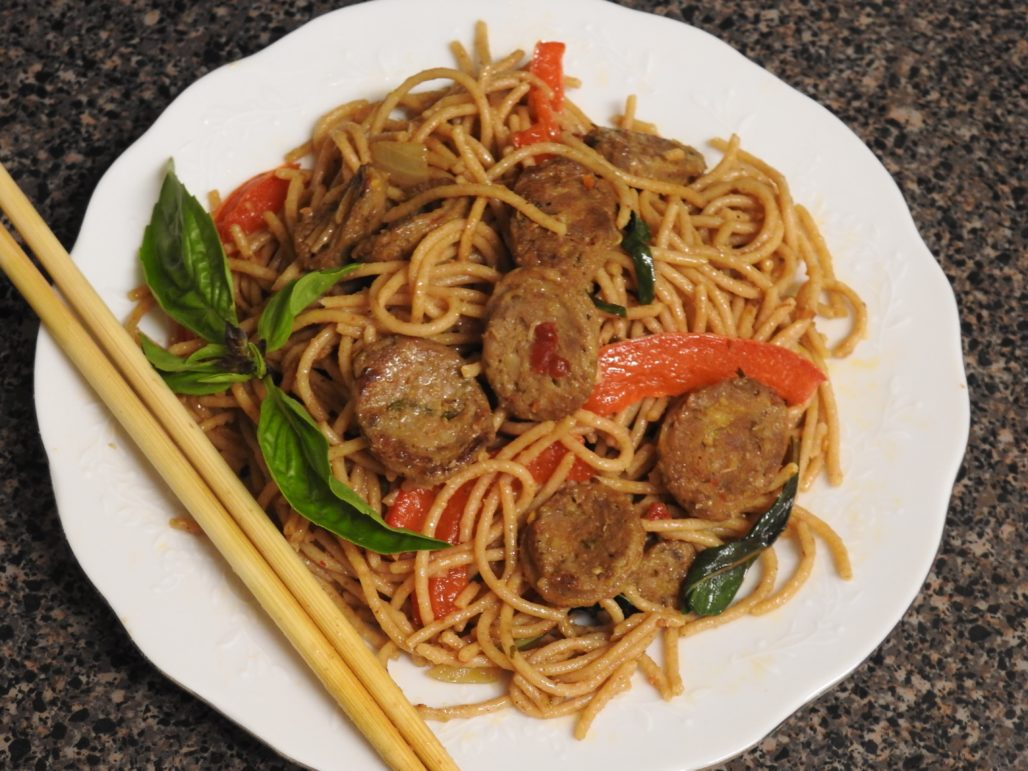Stir-Fried Noodles and Northern Thai Sausage