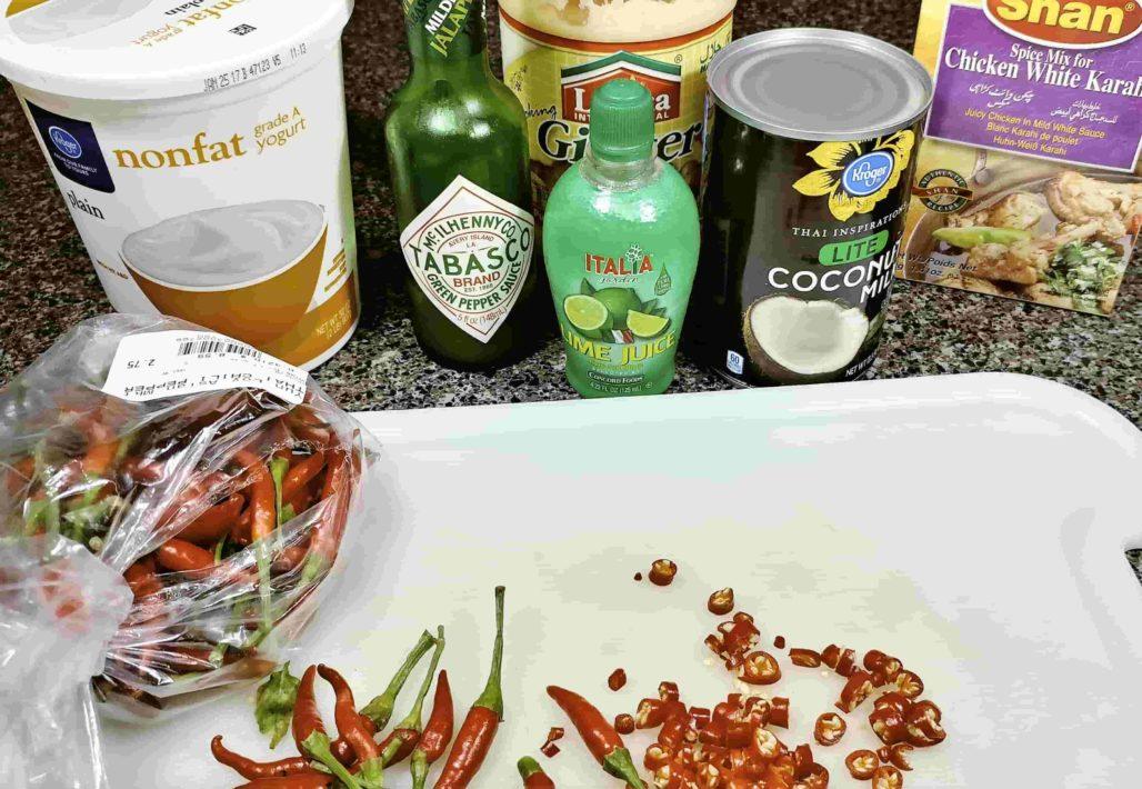 Thai Curry Wings Ingredients
