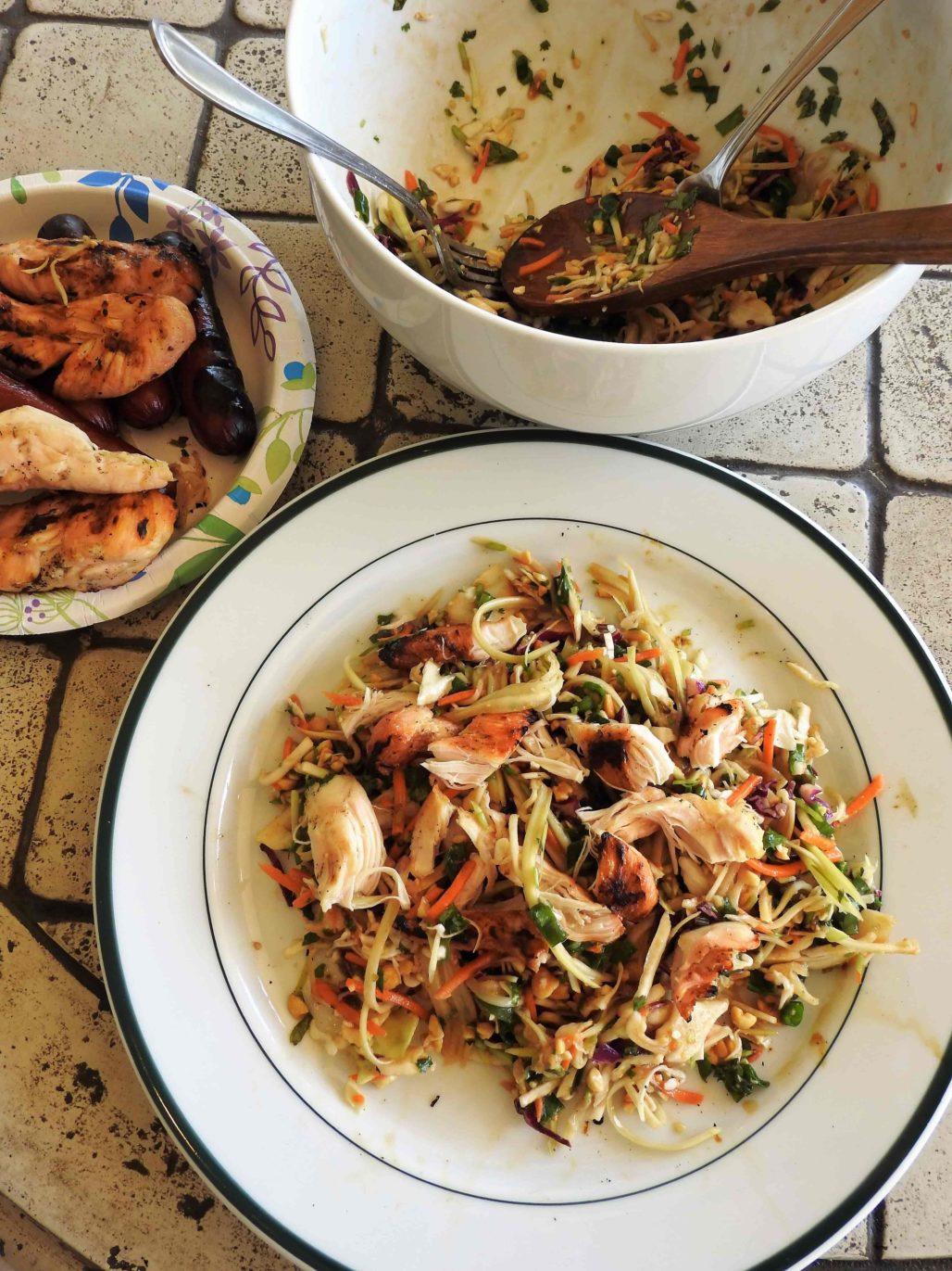 Chopped Thai Salad Dogs