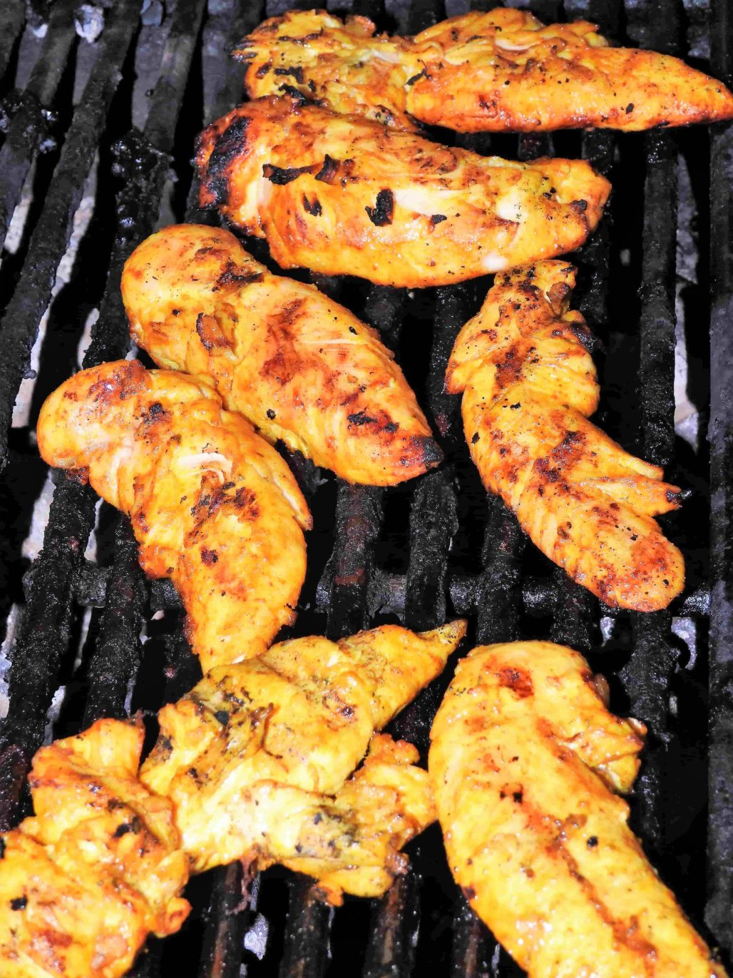 Grilled Turmeric Chicken Tenders grilled until just cooked enough but still tender