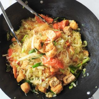 Stir fried glass noodles, cabbage, and tofu