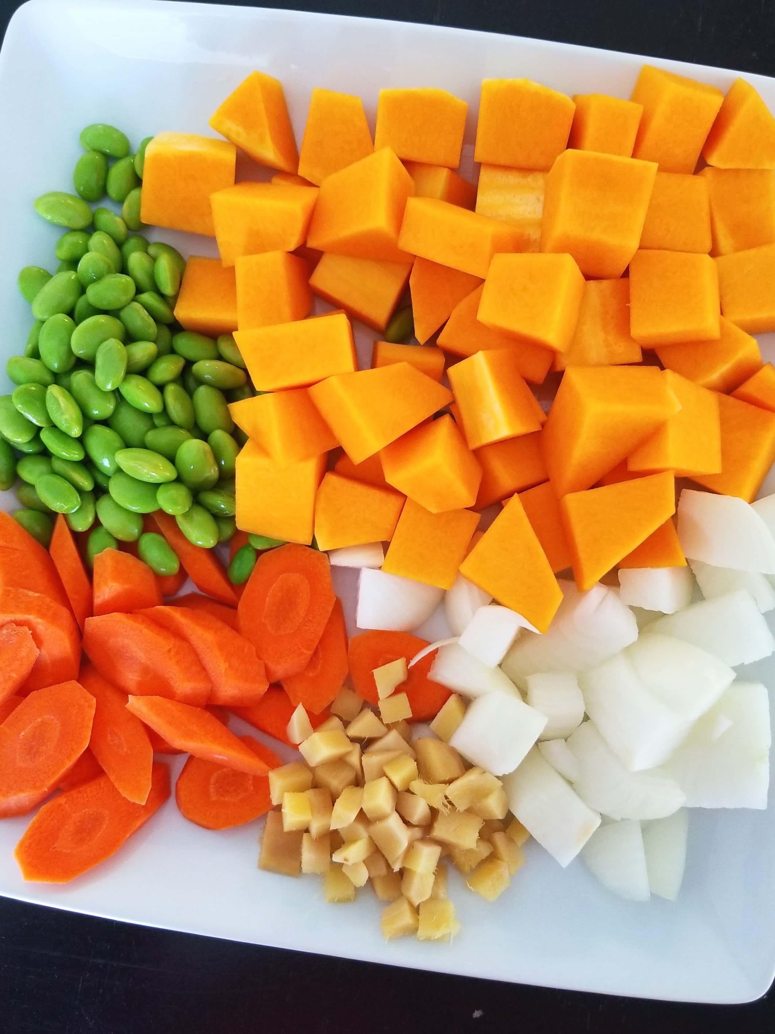 Butter squash, onion, ginger, carrots, edamame