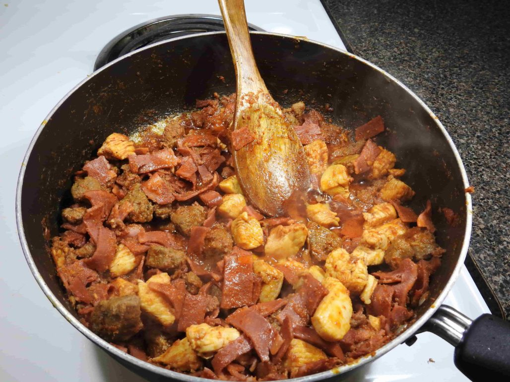 Thai Red Curry Breakfast Burrito Meats in Skillet