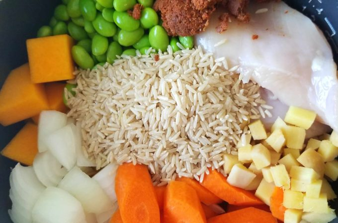 Rice cooker Thai Masaman curry ingredients