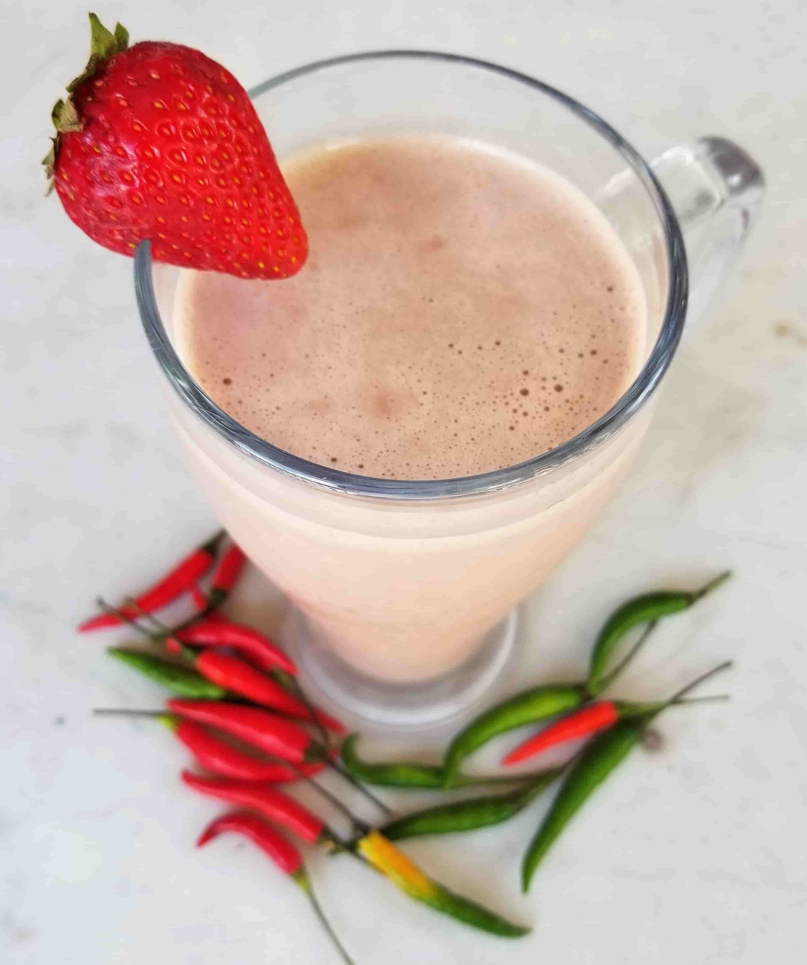Thai Chili Chocolate Strawberry Protein Smoothie- A Ménage à Trois of Sensual Chocolate Strawberry And Peppers to Help Spice Things Up