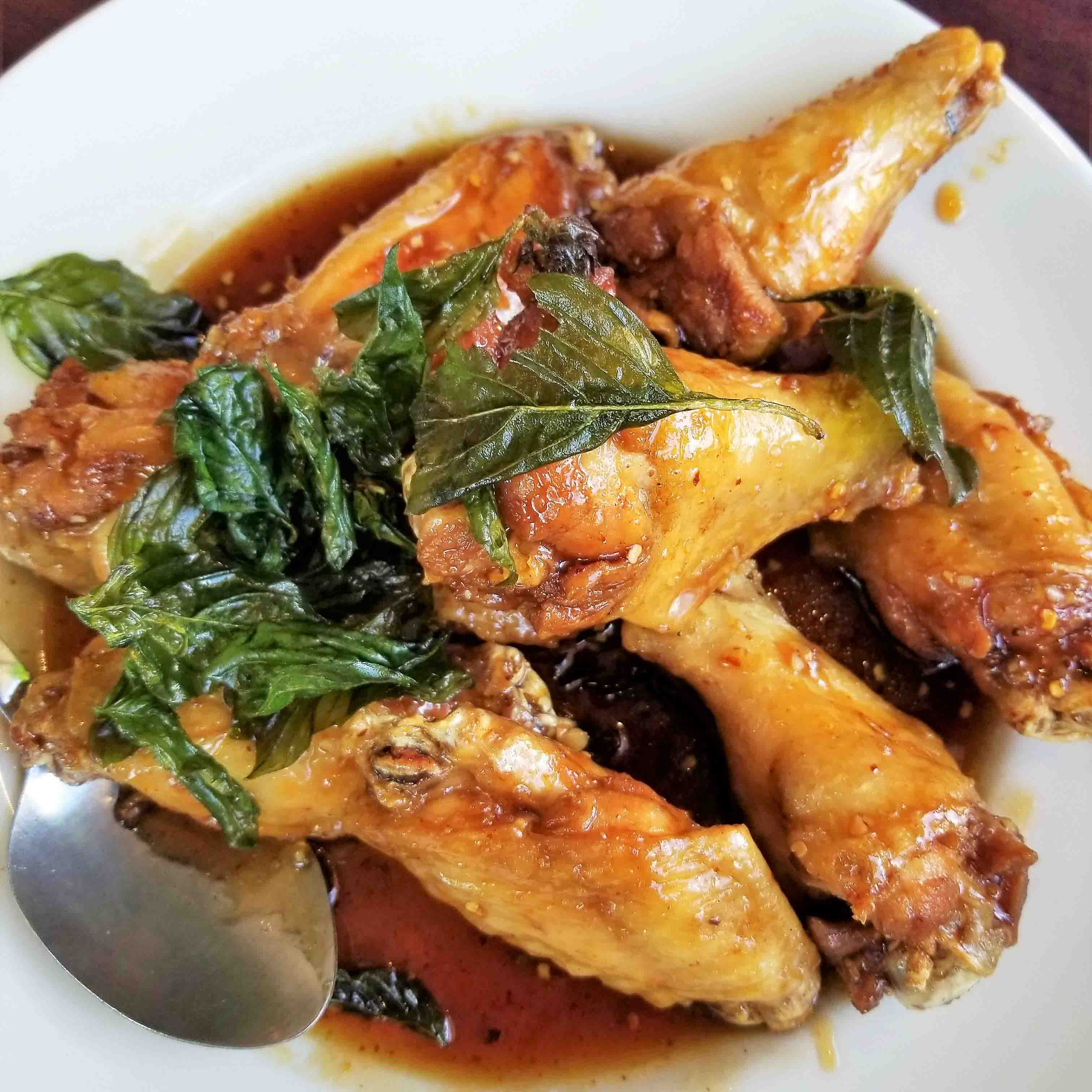 Baked thai basil chicken wings healthy thai recipes restaurant thai basil chicken wings forumfinder Image collections