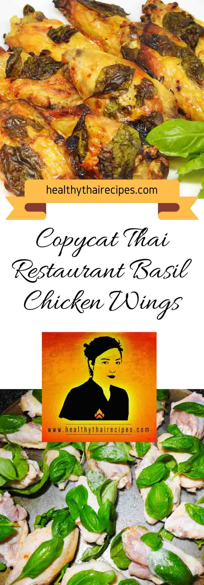 Thai Basil Chicken Wings Pinterest Image