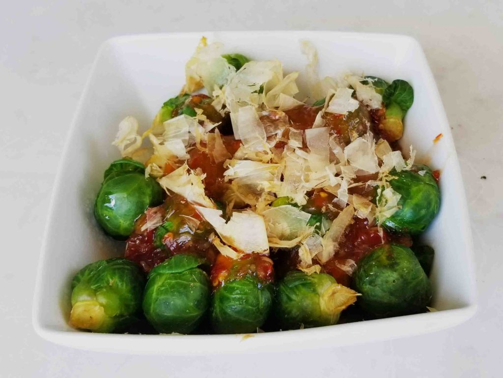 Two Ingredient-5 minute, Steamed Sweet Thai Chili Brussels Sprouts