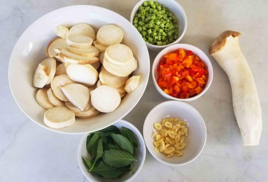 Thai style stir-fried oyster mushroom ingredients