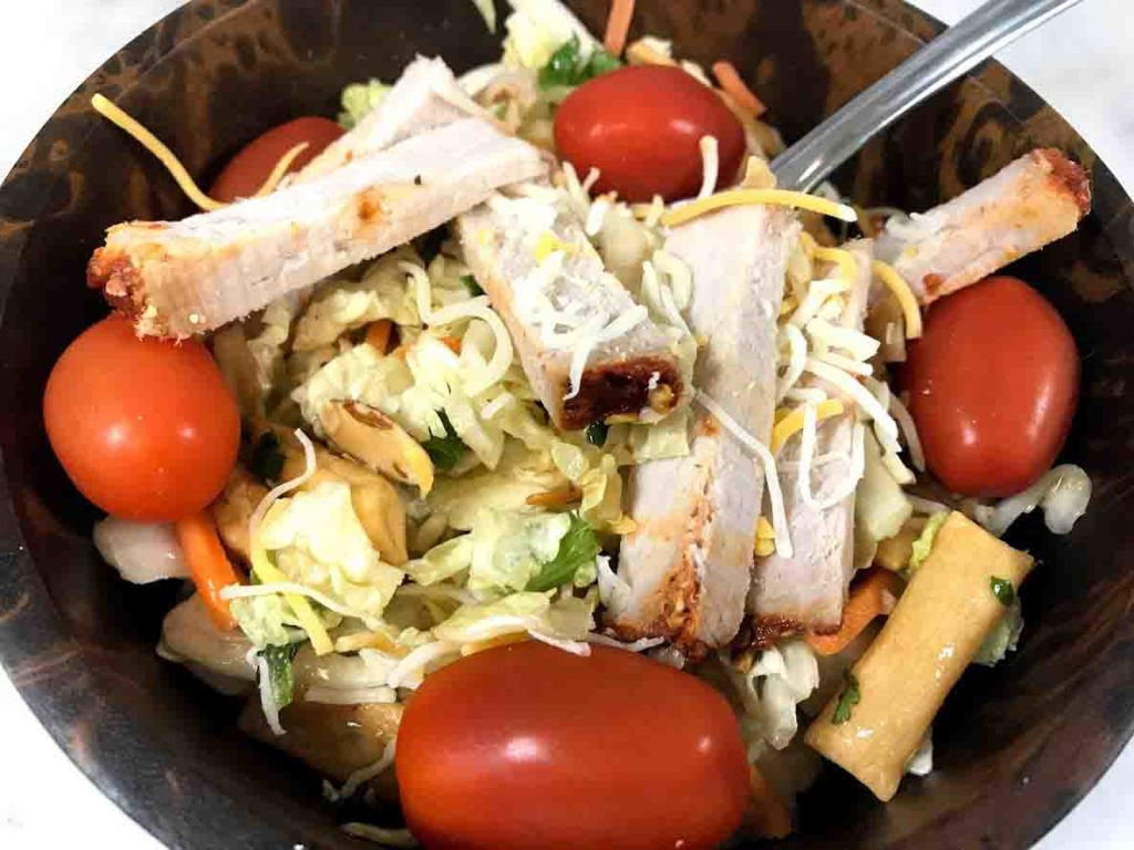 Chopped Asian Salad with Sriracha Honey Pork