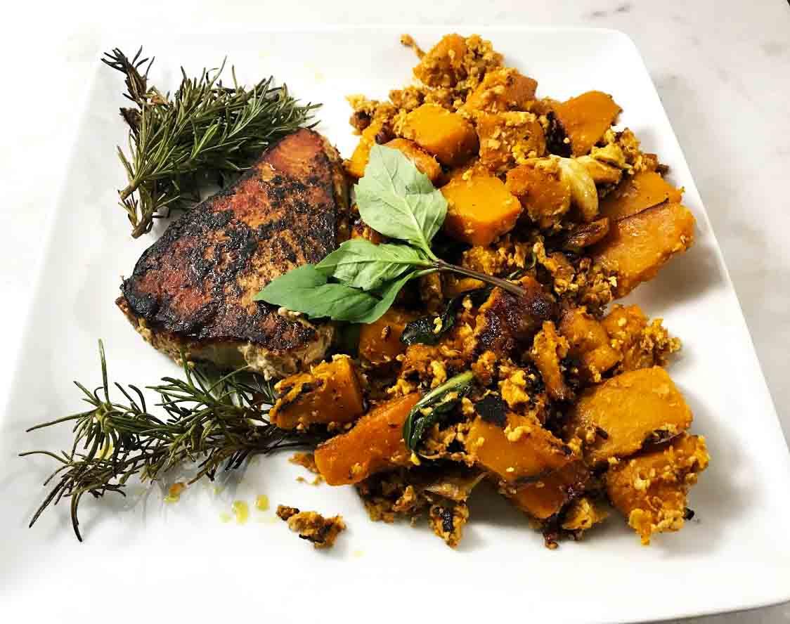 Blackened Thai Chili Tuna With Stir-fried Pumpkin