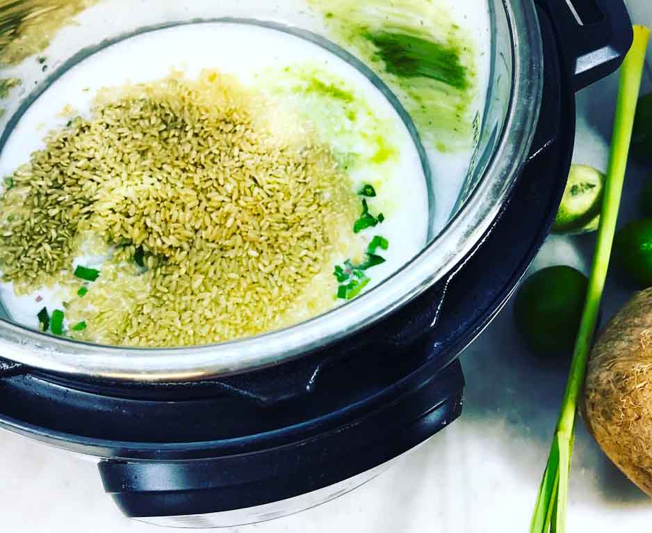 Instant Pot Thai Whole Grain Coconut, Lemongrass and Lime Rice Ingredients in Pot
