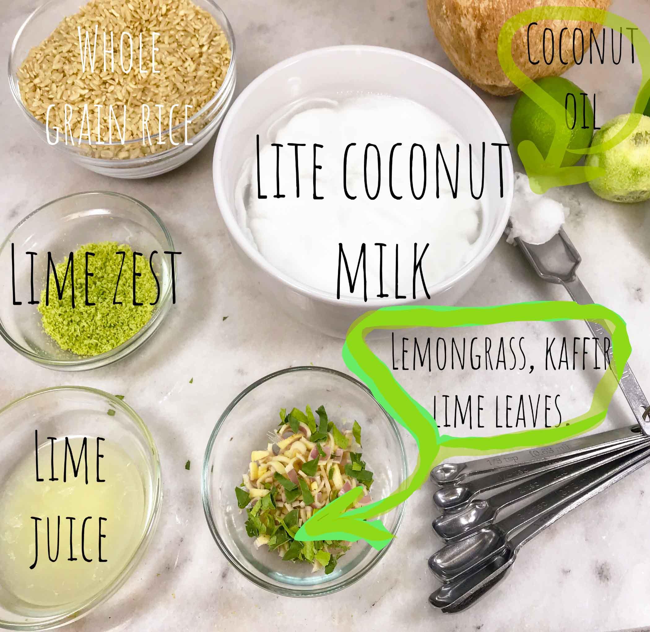 Instant Pot Thai Whole Grain Coconut, Lemongrass and Lime Rice Ingredients