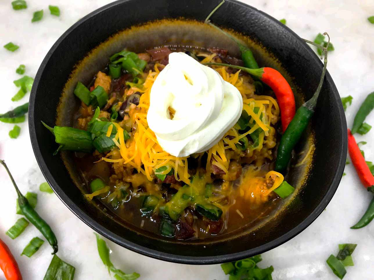 Instant Pot Lean Protein Chili with Thai Chili Peppers