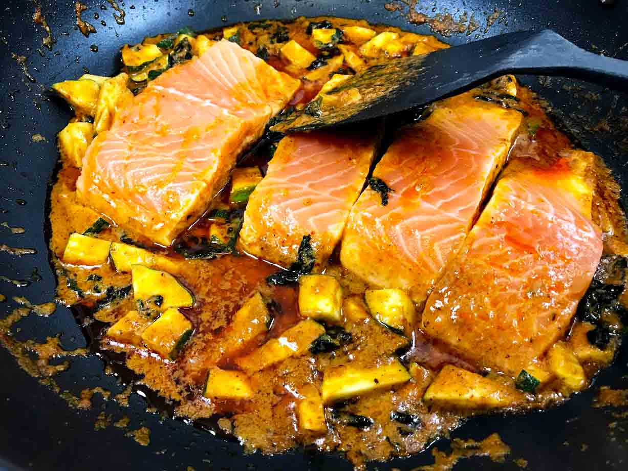 Thai Coconut Curry Salmon Cooking