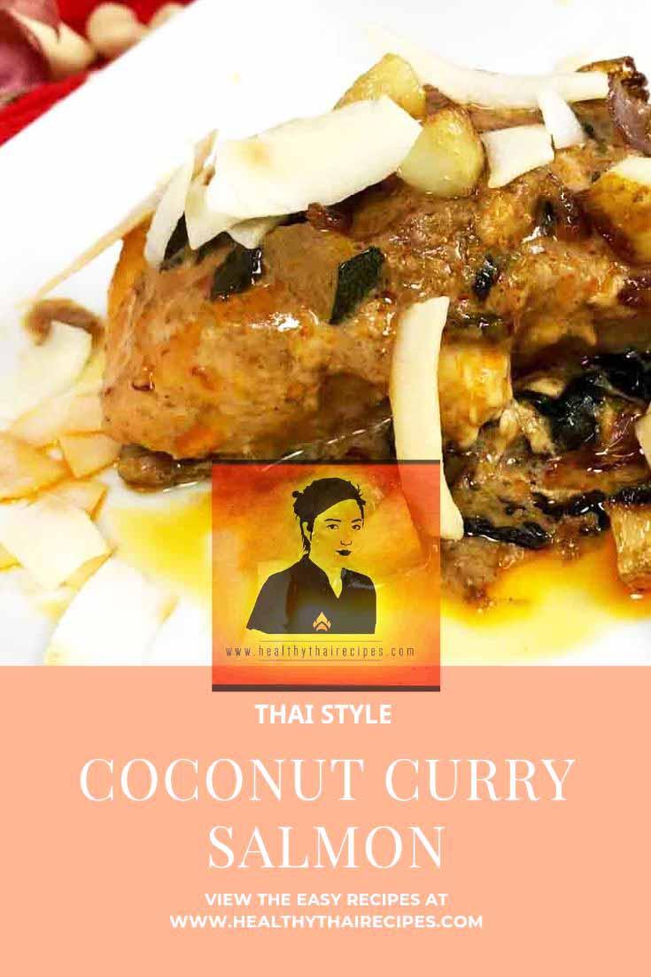 Thai Style Coconut Curry Salmon Pinterest Image