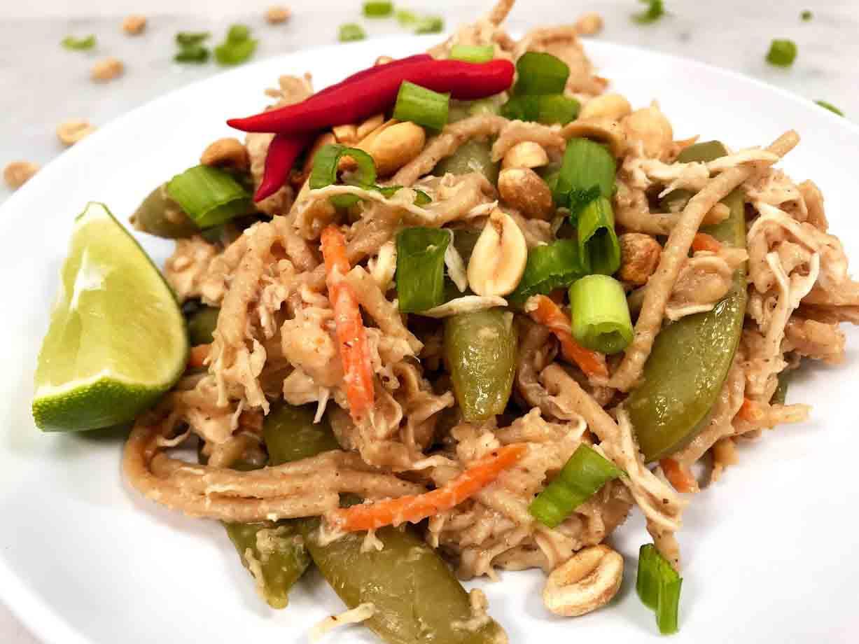 Instant Pot Peanut Chicken With Whole Grain Spaghetti - Healthy Thai Recipes