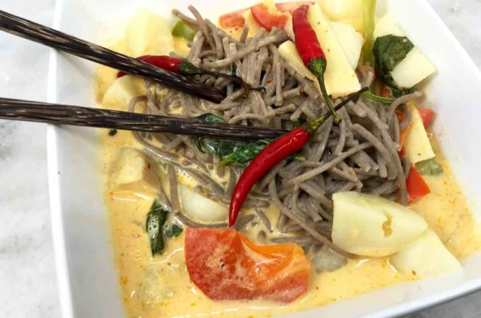Thai Buckwheat Noodle Red Curry Soup