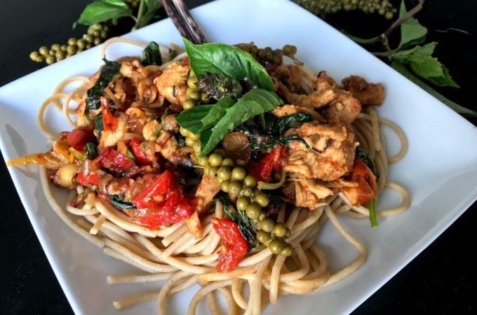 Stir-fried Whole Grain Noodles with Green Peppercorns