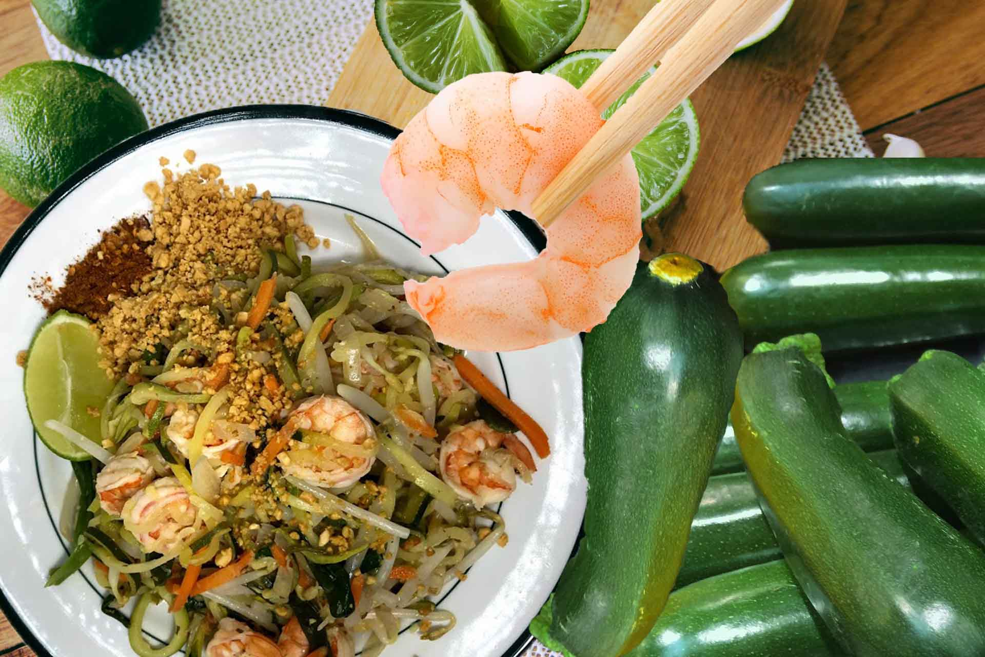 Healthy Pad Thai Zoodles- Stir-Fried Zucchini Noodles With Shrimp - Healthy Thai Recipes