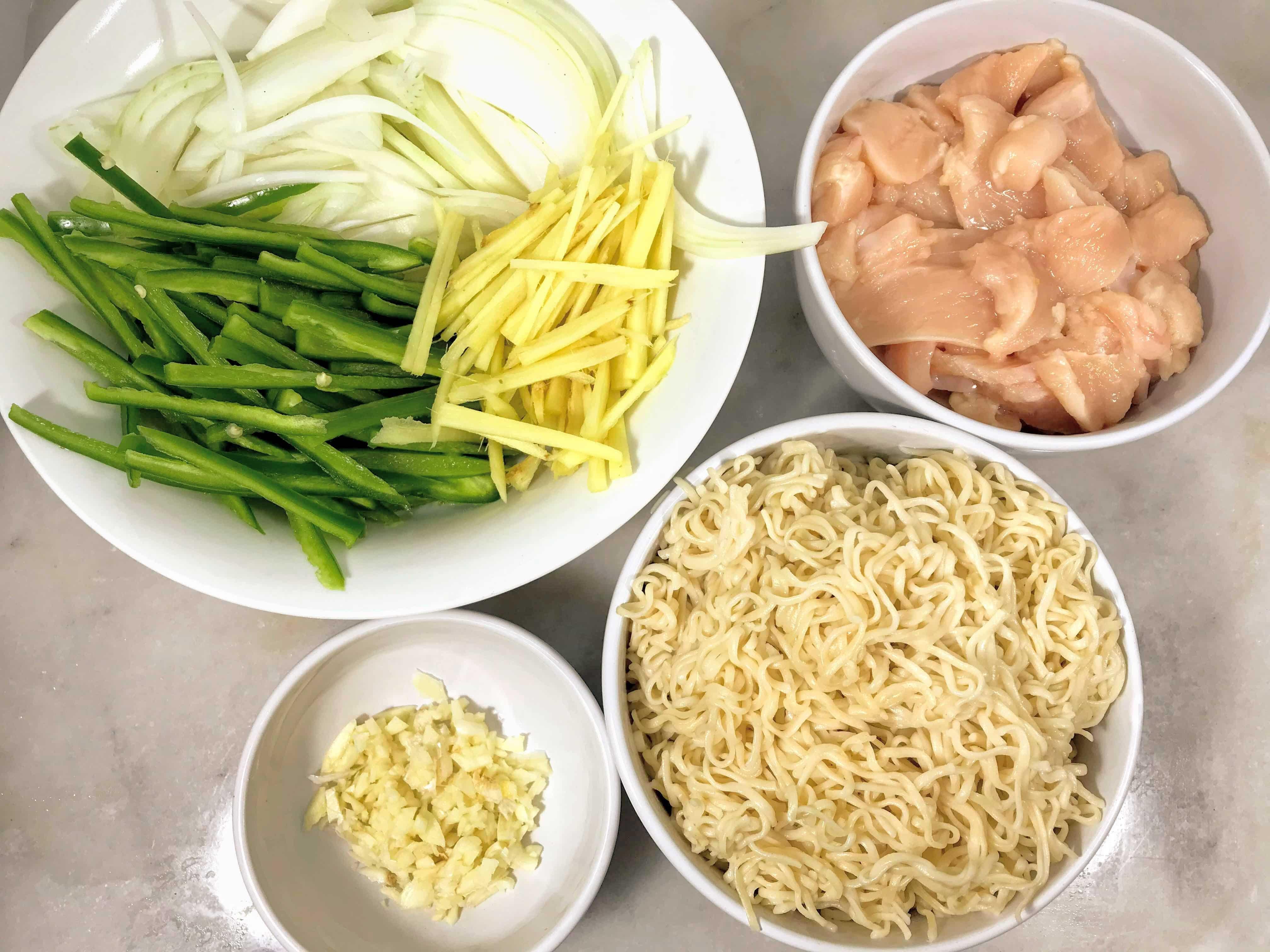 Stir fried ginger chiken with brown rice ramen ingredients