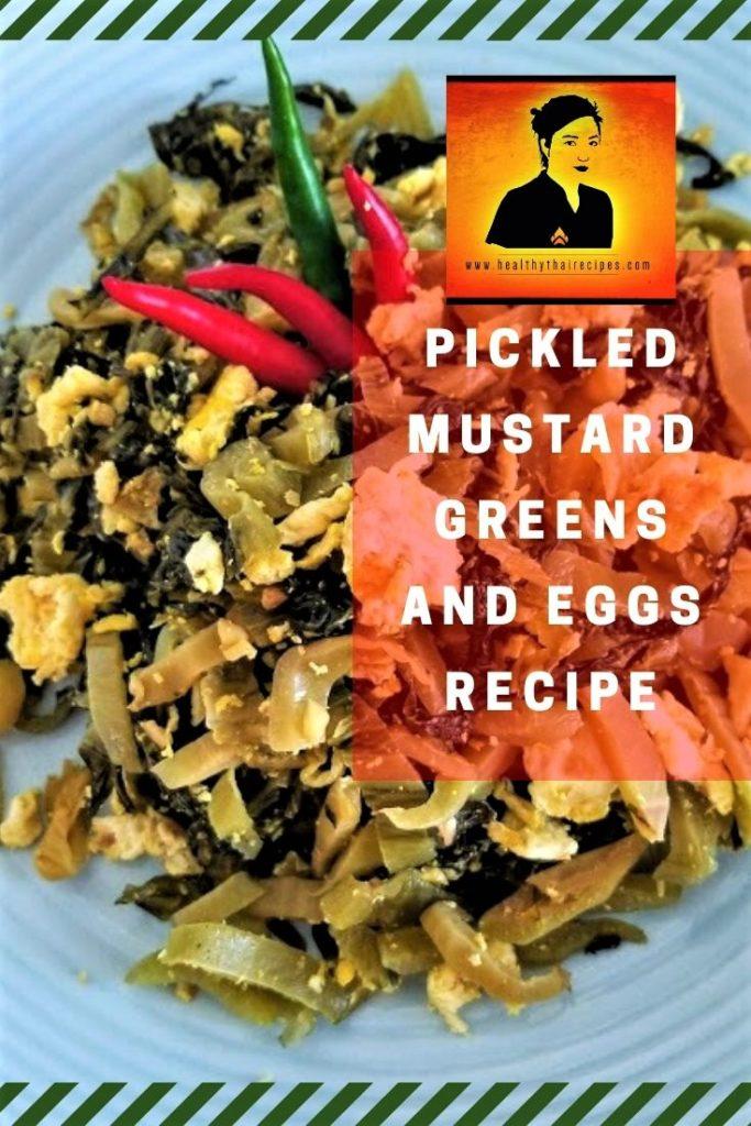 Stir-fried mustard greens and eggs Pinterest Image