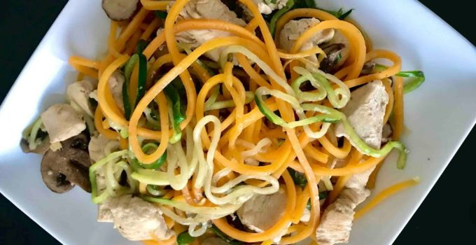 Stir-fried zucchini noodles with Chicken and Mushrooms