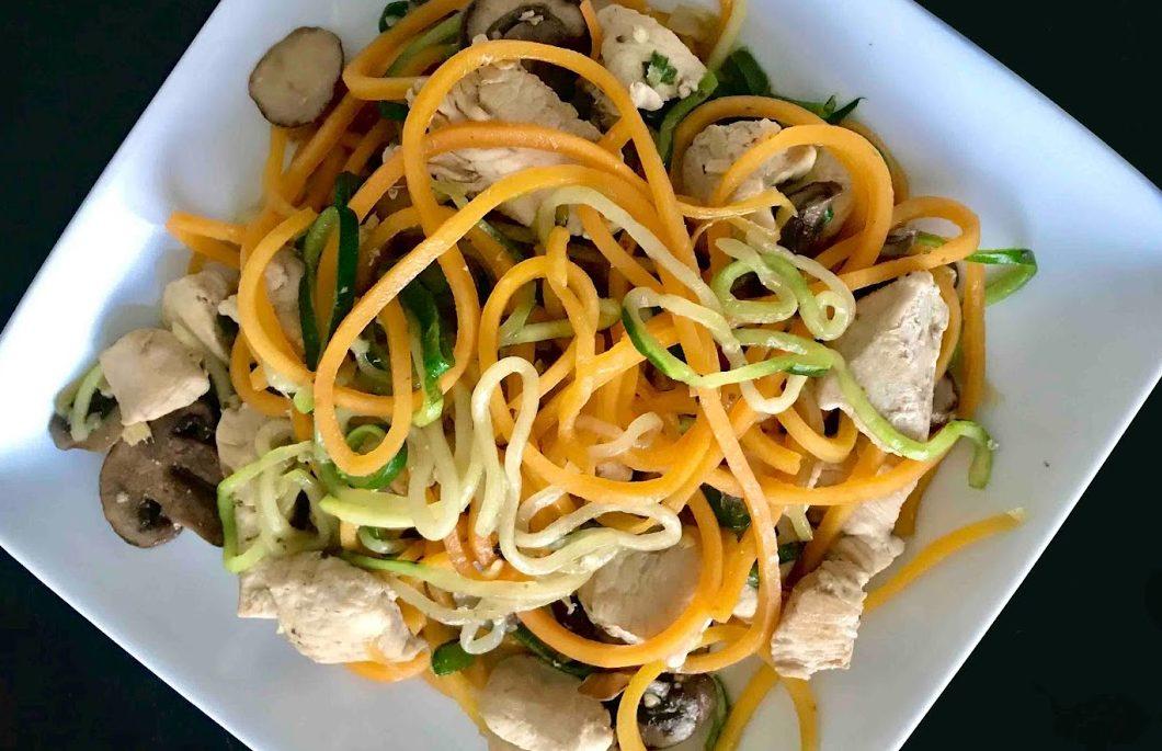 Stir-Fried Zucchini Noodles, Zoodles - Healthy Thai Recipes