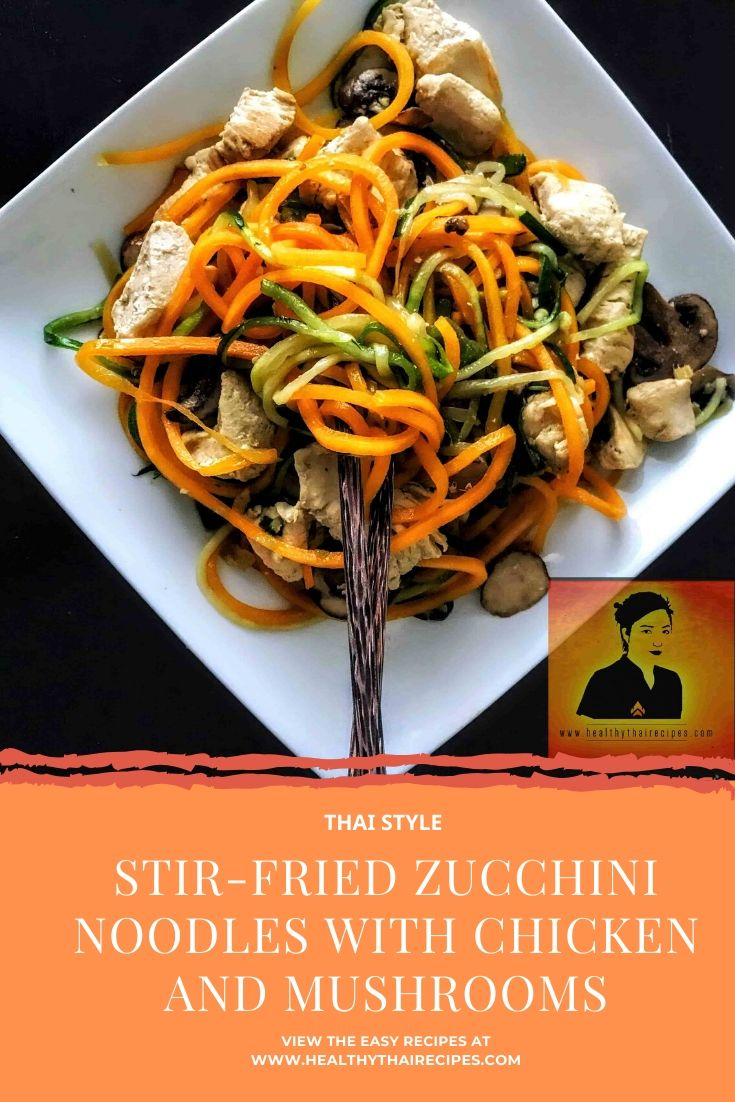 stir-fried zucchini noodles with chicken and mushrooms pinterest image